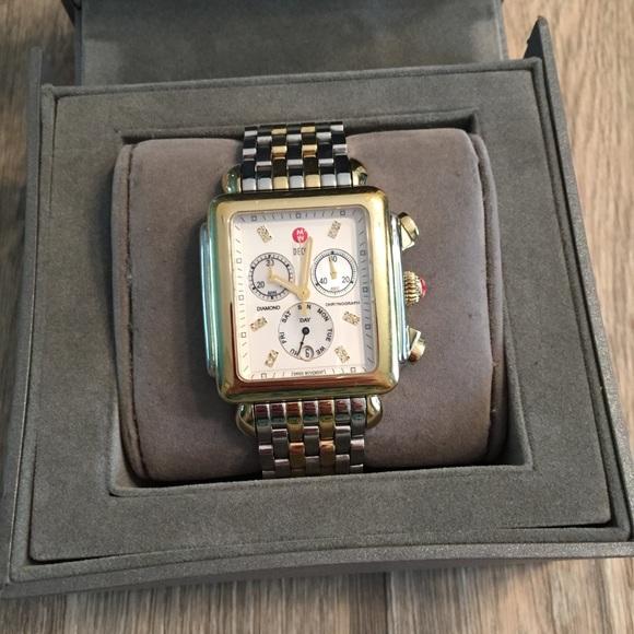 Michele Accessories - Michele XL two tone diamond deco watch